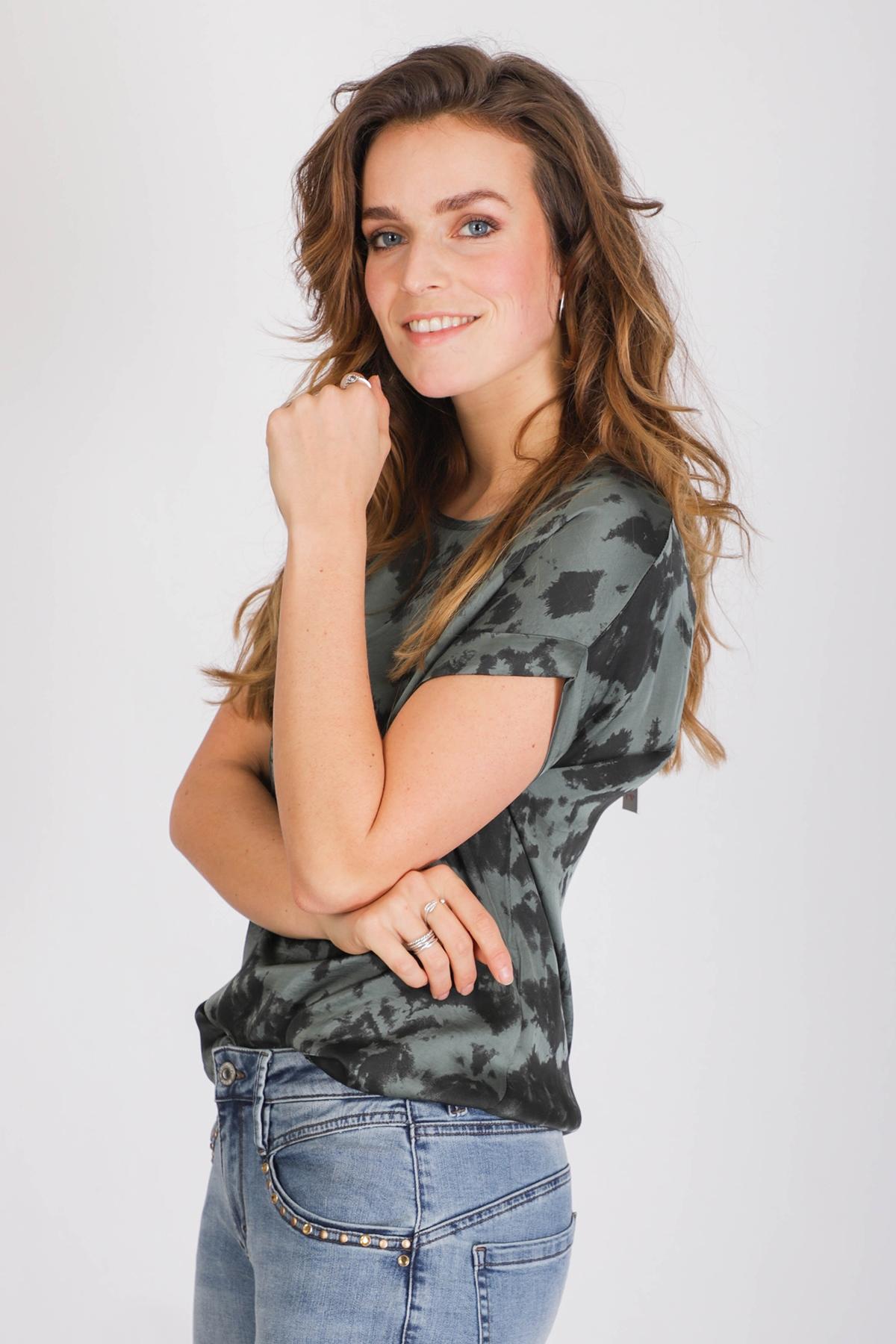 AAIKO Shirt Top Groen MERLE TIEDYE