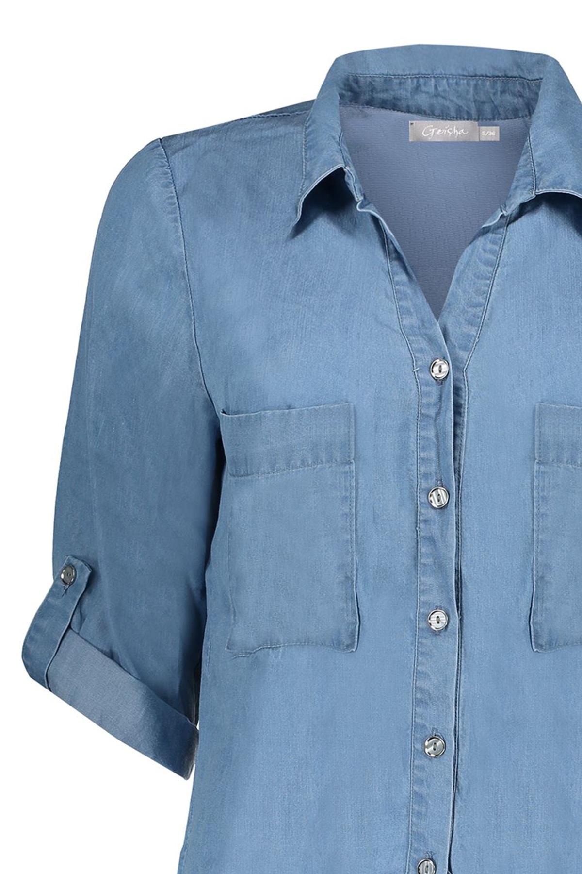 Geisha Shirt - Top Blauw 03171-70