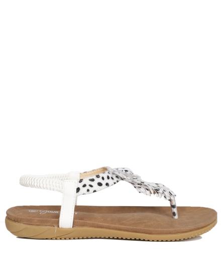 Sandaal veer panter wit