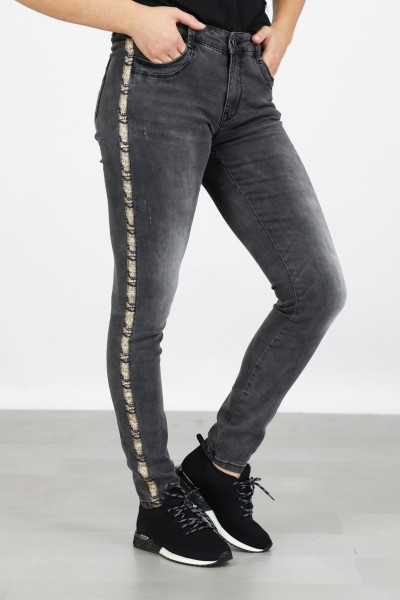 Jeans with snake tape grijs / antraciet