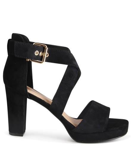 Sandaal h.hak kruisband zwart
