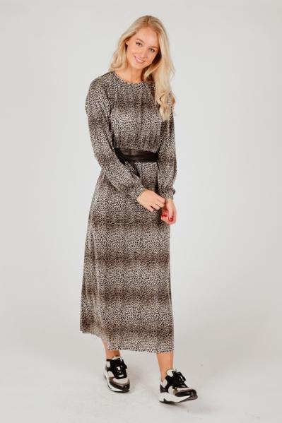 Dress plisse leopard zand