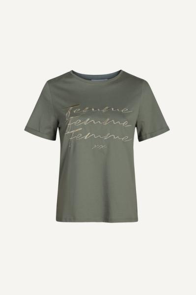 T-shirt korte mouw met tekst groen