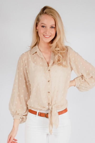 Blouse dot beige beige