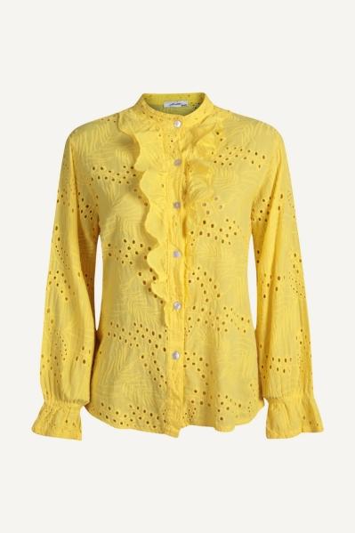 Blouse open gehaakt roesel geel geel