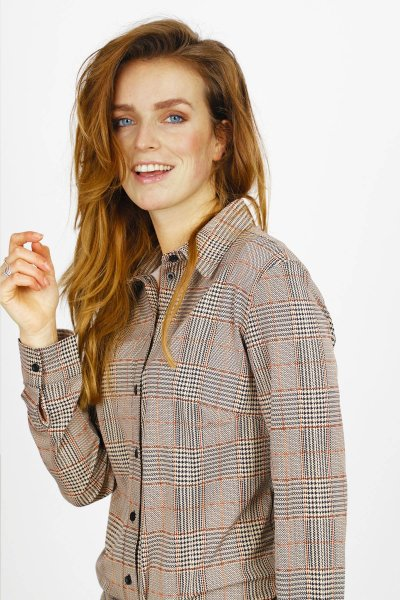 Travel blouse ruit  multi