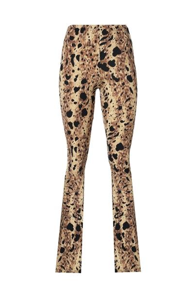 Flare tricot stretch animal groot beige/zwart dierenprint fake