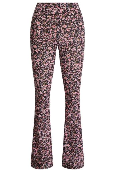 Flare tricot stretch bloemetje roze  rose