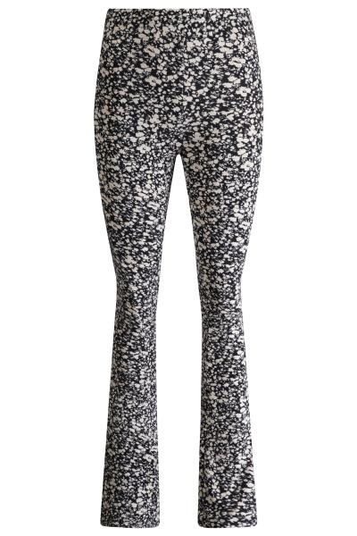 Flare tricot stretch bloemetje zwart/wit  zwart/wit