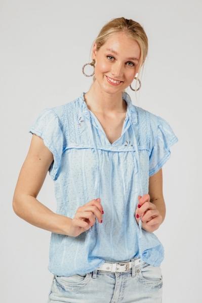 Shirt blauw  bolletje vhals borduur  blauw