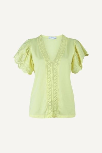 Shirt korte mouw broderie V geel geel