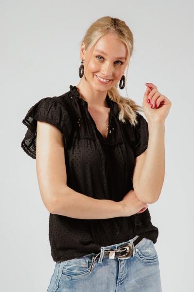 Shirt zwart  bolletje vhals borduur  zwart