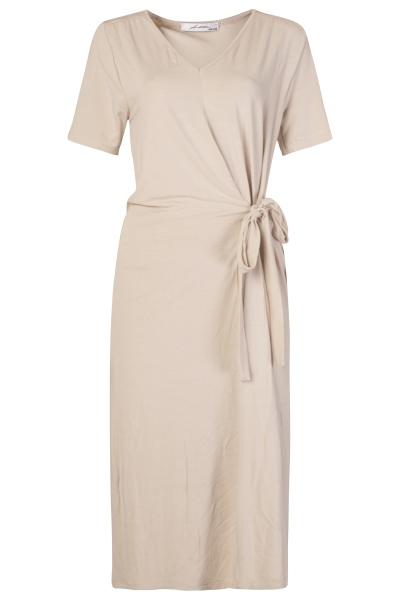 Basic jurk knoop beige