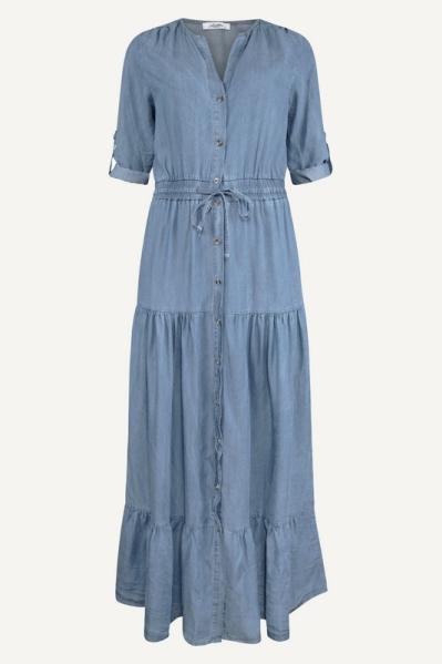 Tencel jurk maxi blauw