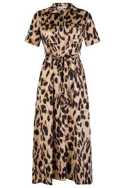 Satijn leopard beige bruin multi