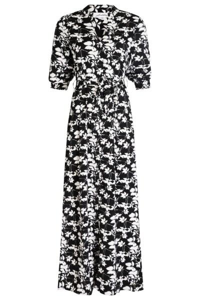 Maxi bloemprint zwart/wit/goud  zwart/wit