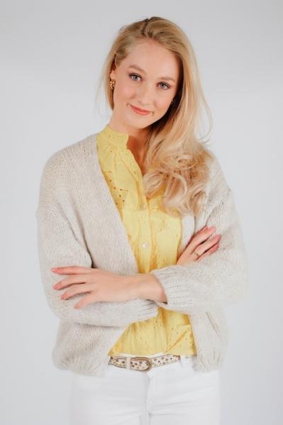 Vest bij blouse beige