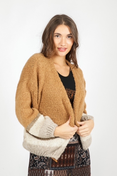 Vest lurex band camel