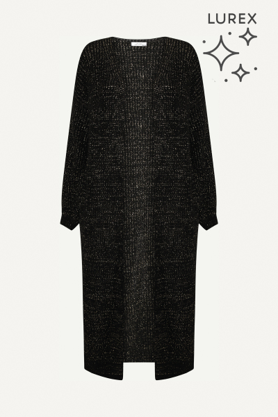 Vest kuit lengte zwart + lurex  zwart