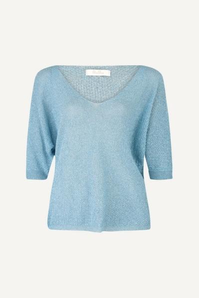Le Ballon Shirt / Top Blauw Lurex wijd vhals