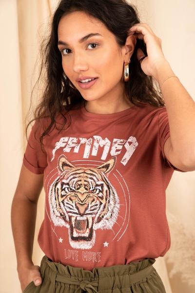 Femme9 Shirt / Top Brique Dide tiger