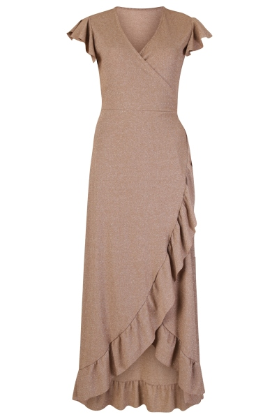 Le Ballon Maxi-jurken Brons Wrap dress lurex