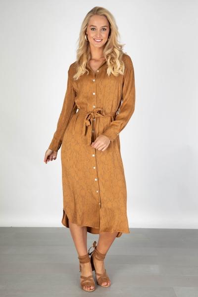 AAIKO Maxi-jurken Bruin PALMA SNAKE