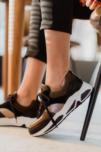 Sneaker combi materialen d.bruin