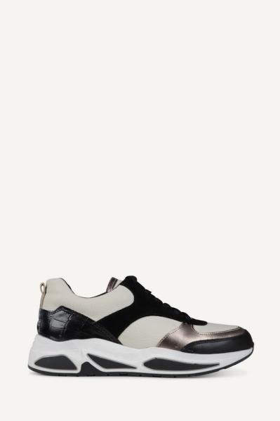 Sneaker combi materialen zwart/wit