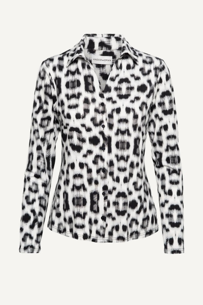 Animal blouse blauw/wit