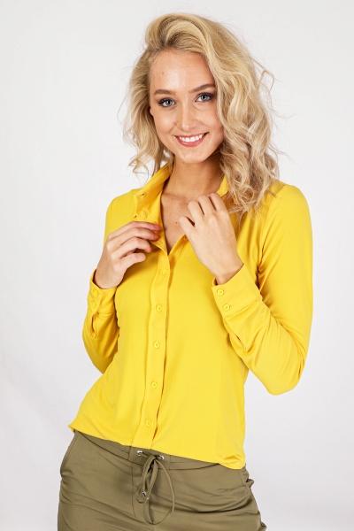 Geel stretch kraag doorknoop  geel