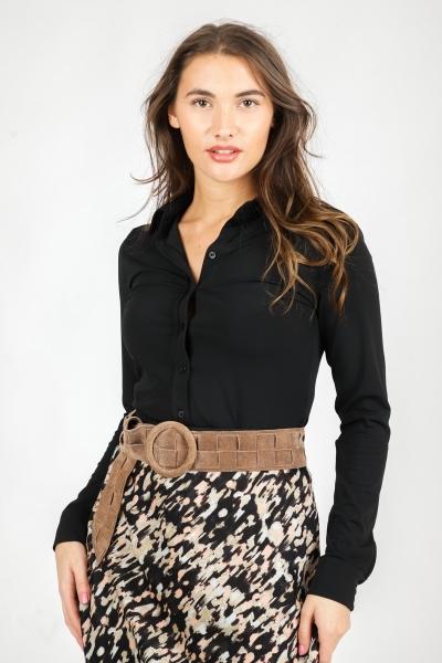 Tricot doorknoop blouse uni zwart  zwart