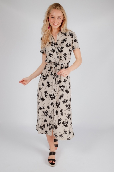 Maxi palm + animal print doorknoop korte mouw  multi