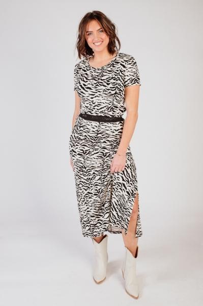 Rok lang print zebra zwart/wit