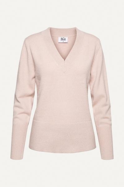 Knit zacht vhals poeder  licht roze