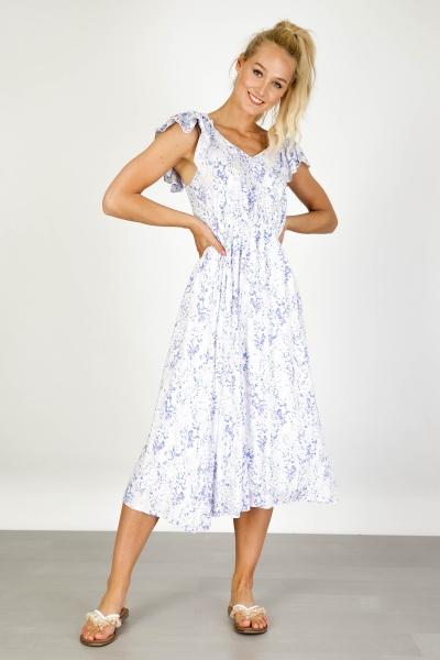 Nora aquarel ruffle shoulder maxi dress  multi
