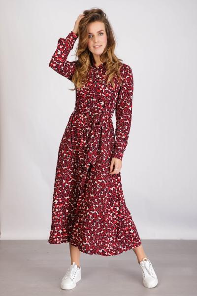 Desiree Leopard Maxi Shirt Dress rood