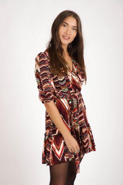 Aztec multi tricot overslag warme kleuren  multi