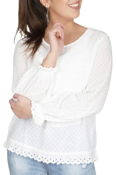 ICHI Shirt / Top Ecru Ihbekka LS