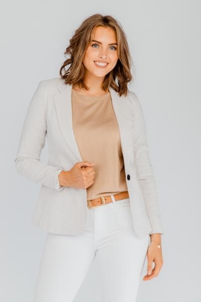 Blazer stretch streepje beige/wit beige