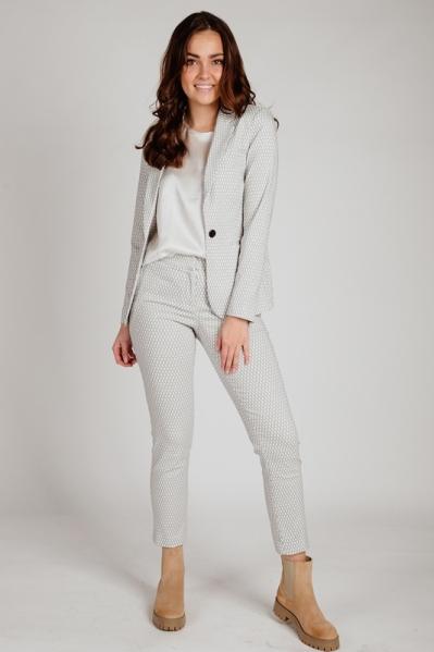 Pantalon zwart wit stretch honing ruit motiefje  zwart/wit