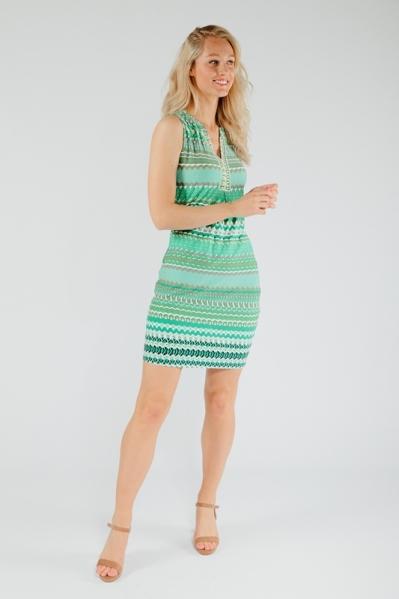 Jurkje print groen mouwloos + strass  groen