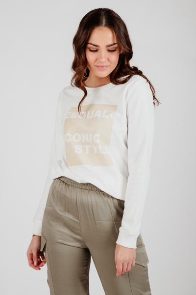 Sweater offwhite camel print vierkant off white