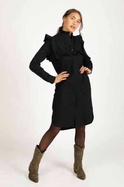 Uni zwart blouse jurk + ruches  zwart
