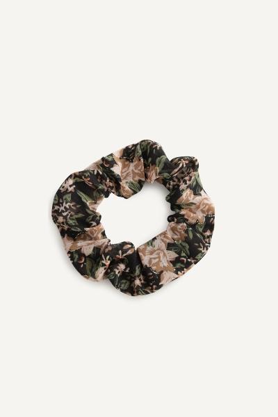 Scrunchie print bloem oker groen  multi