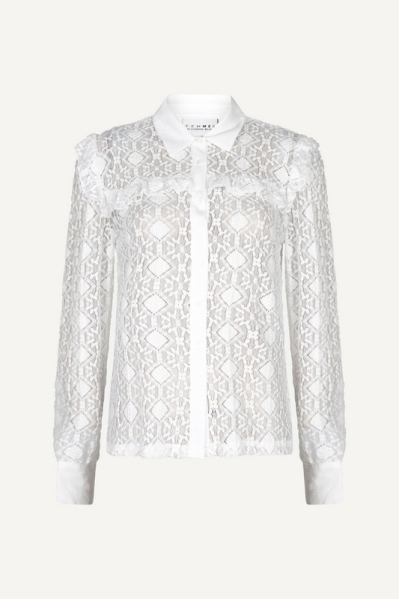 Lace blouse with ruffles and contrast fabric wit