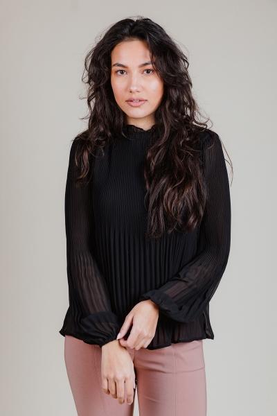 Geplooide blouse zwart