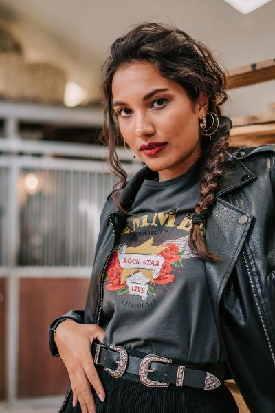Rock star opdruk Femme9 antraciet  grijs / antraciet
