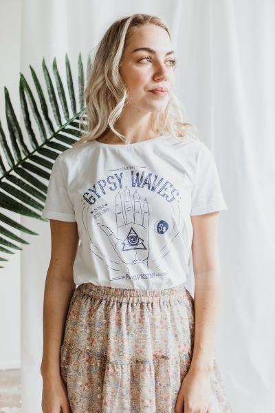 Offwhite + Gypsy opdruk jeansblauw  off white