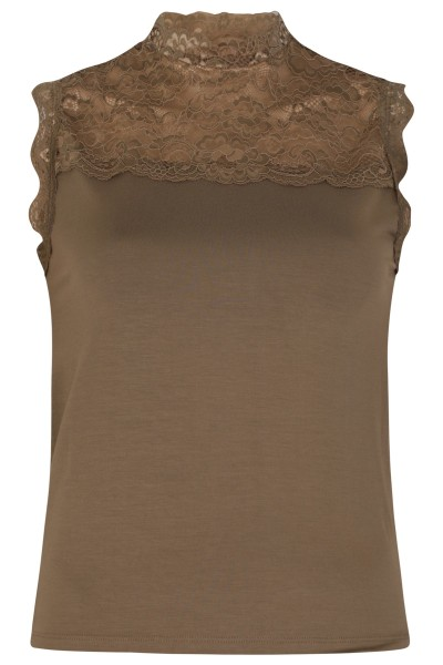Stretch kant + tricot army mouwloos opstaan halsje army